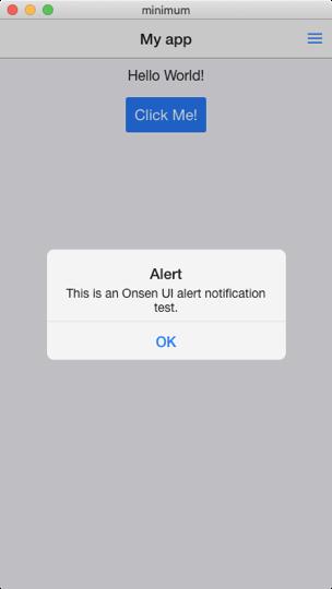 Onsen UI V2 Vue Minimunの画面