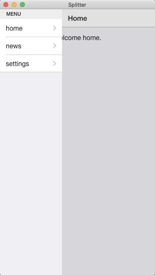 Onsen UI V2 Vue Splitterの画面